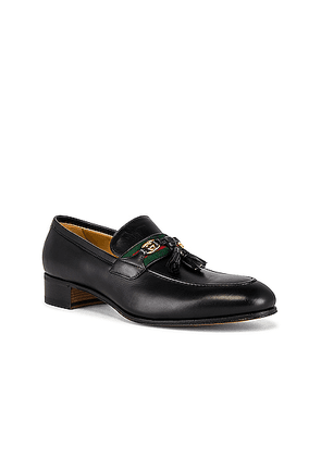 Gucci Paride Loafer in Black & Green & Red - Black. Size 10 (also in 11, 7, 8, 9).
