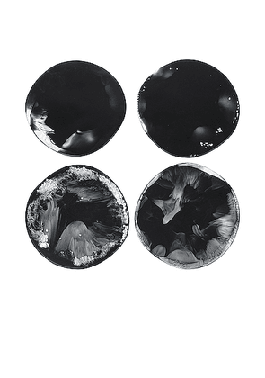 DINOSAUR DESIGNS Set of 4 Boulder Coasters in Black Marble - Beauty: NA. Size all.
