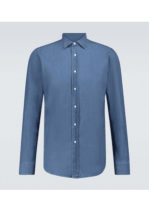 Long-sleeved light denim shirt