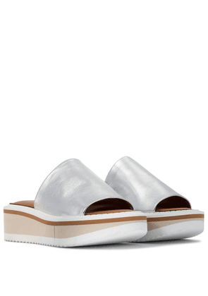 Fastie leather platform slides