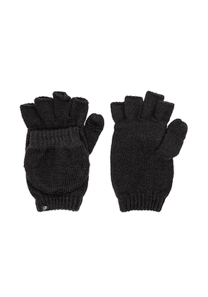 Plush Fleece Lined Texting Mittens in Black.