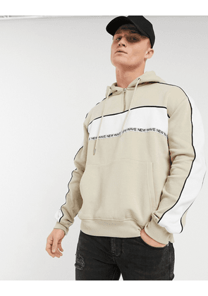 New Look co-ord hoodie with taping in stone-Grey