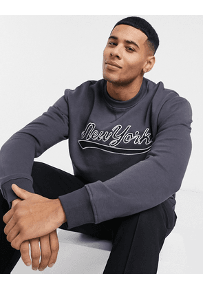 New Look sweat with new york applique print in navy-Blue