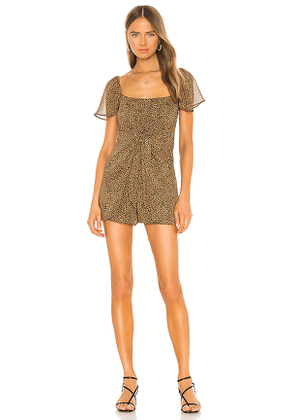 Show Me Your Mumu Kinsley Romper in Brown. Size S, XS.
