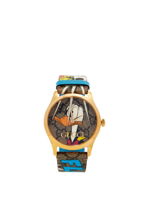 Gucci - G-timeless Donald Duck-print Gg-canvas Watch - Mens - Gold Multi