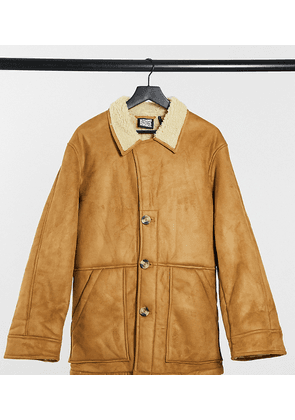 Reclaimed Vintage inspired faux shearling jacket in tan-Brown