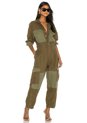 Citizens of Humanity Camille Cuffed Leg Jumpsuit in Green. Size M, S, XS.