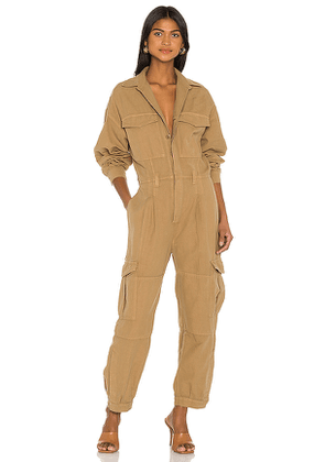 Citizens of Humanity Camille Cuffed Leg Jumpsuit in Tan. Size M, S, XS.