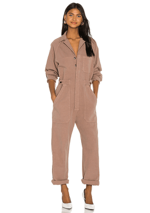 Citizens of Humanity Shay Easy Side Button Jumpsuit in Mauve. Size M, S, XS.