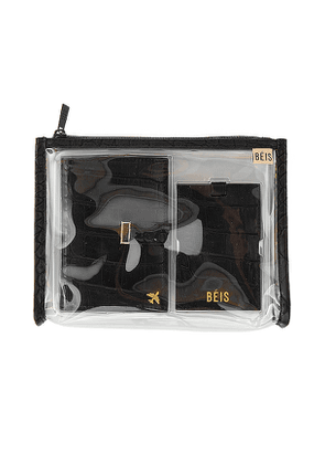 BEIS Passport and Luggage Tag Set in Black.