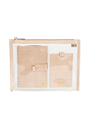 BEIS Passport and Luggage Tag Set in Cream.