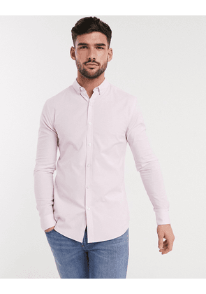 New Look long sleeve muscle fit oxford shirt in pink