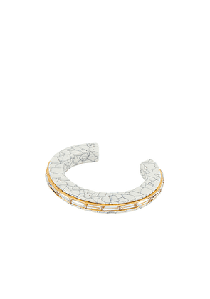 Lele Sadoughi Slim Crystal Cuff in White.
