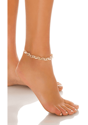 8 Other Reasons Rock My World Anklet in Metallic Gold.