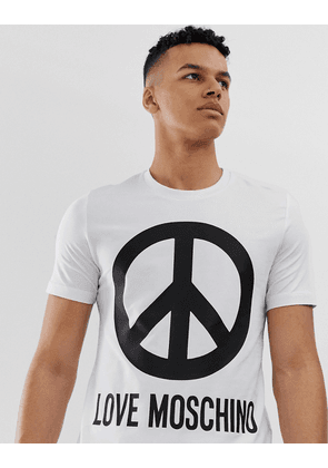 Love Moschino t-shirt with large peace sign logo in white
