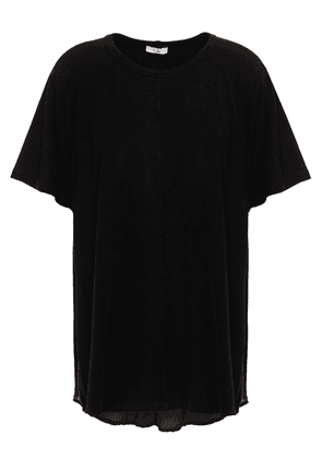 Clu Paneled Washed-silk And Tencel-blend Jersey T-shirt Woman Black Size S