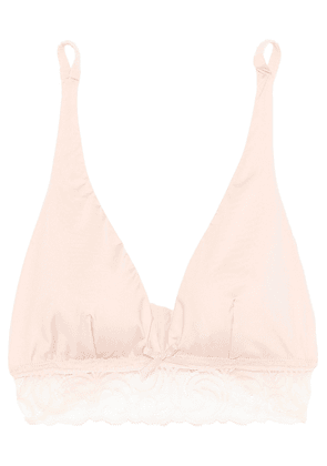 Cosabella Evolved Leavers Lace-trimmed Stretch-jersey Soft-cup Triangle Bra Woman Pastel pink Size S