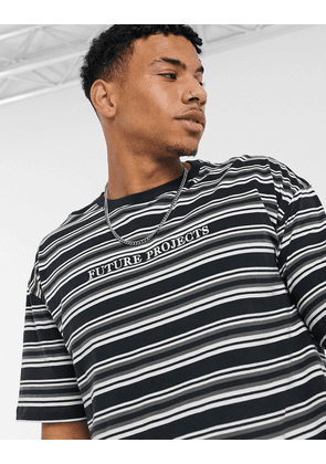 New Look striped t-shirt with embroidered print in dark grey