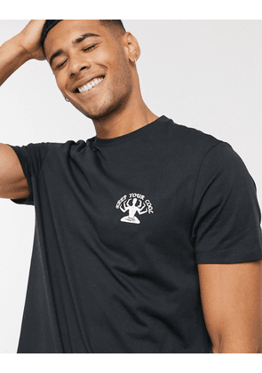New Look cool print t-shirt in black