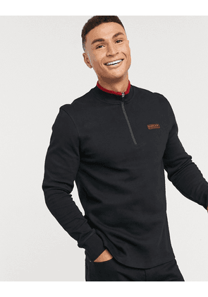 Barbour International half zip tipped long sleeve polo in black