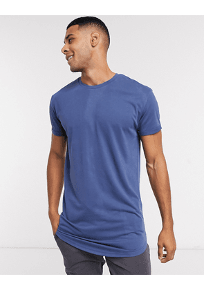 Selected Homme Colin long line o-neck t-shirt-Blue