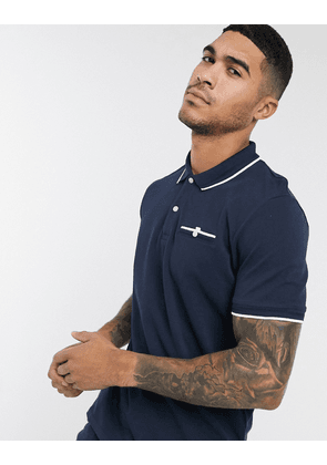 Selected Homme patterson print polo shirt-Navy