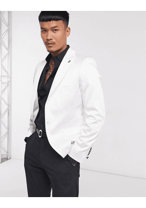 Twisted Tailor satin suit jacket in winter white