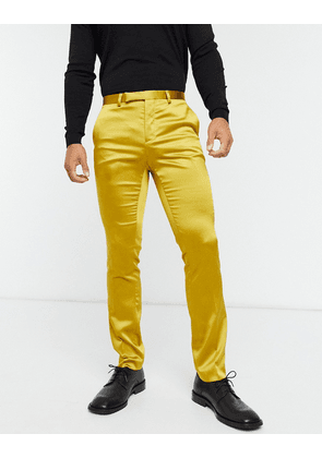 Twisted Tailor sateen suit trousers with shawl lapel in mustard-Yellow