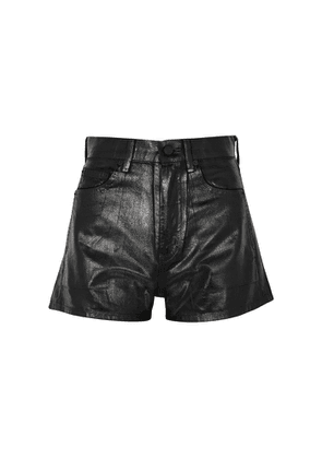 Saint Laurent Black Coated Denim Shorts