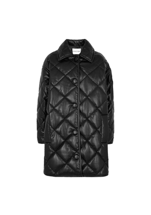 Stand Studio Jacey Black Quilted Faux Leather Jacket