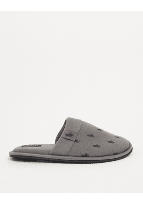 Polo Ralph Lauren summit scuff slip logo print slipper in grey