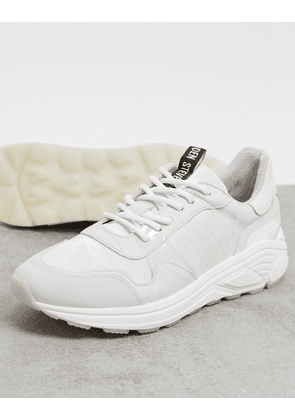 Steve Madden chunky sole leather trainers in white
