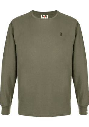 A BATHING APE® logo-embroidered long-sleeve T-shirt - Green