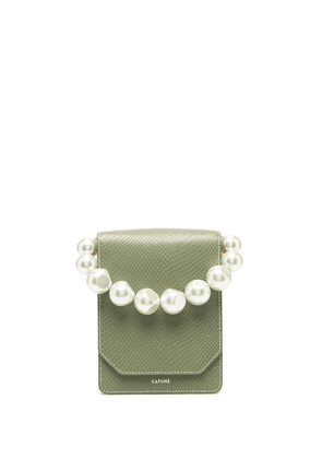 Cafuné snakeskin clutch bag with changeable handles - Green