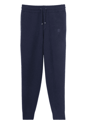 Burberry embroidered Monogram cashmere track pants - Blue