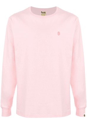 A BATHING APE® logo embroidered long-sleeved T-shirt - PINK