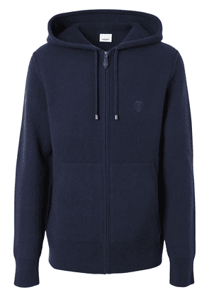 Burberry embroidered monogram zipped hoodie - Blue