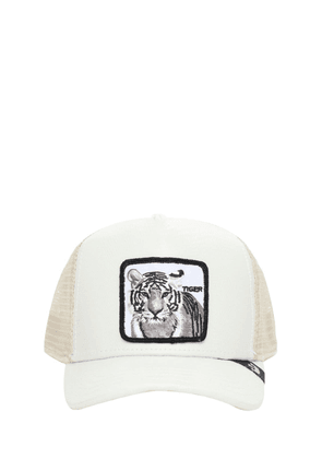 Faux Leather Tiger Trucker Hat W/patch