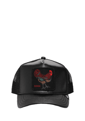 Faux Leather Cock Trucker Hat W/patch