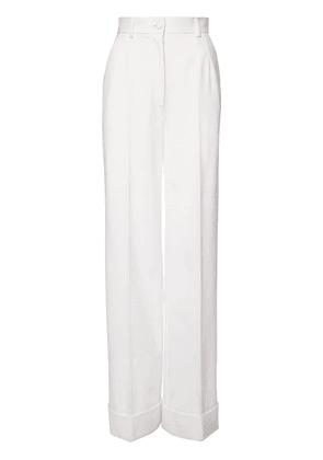 High Waist Stretch Wool Wide Leg Pants