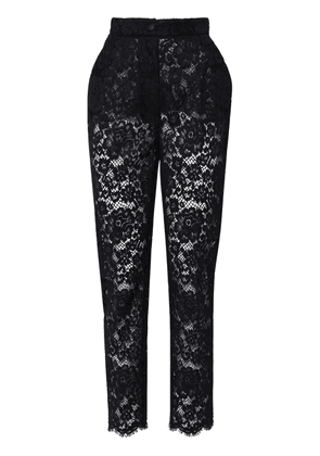 High Waist Cotton Blend Lace Pants