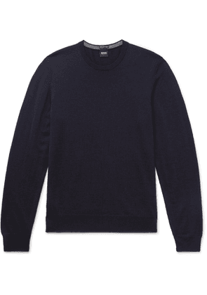 Hugo Boss - Mélange Virgin Wool Sweater - Men - Blue
