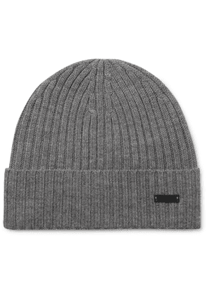 Hugo Boss - Ribbed Virgin Wool Beanie - Men - Gray