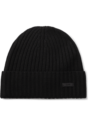 Hugo Boss - Ribbed Virgin Wool Beanie - Men - Black