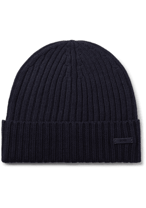 Hugo Boss - Ribbed Virgin Wool Beanie - Men - Blue