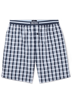 Hugo Boss - Checked Cotton Pyjama Shorts - Men - Blue
