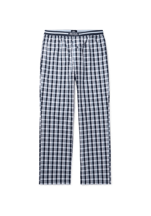Hugo Boss - Checked Cotton-Poplin Pyjama Trousers - Men - Blue