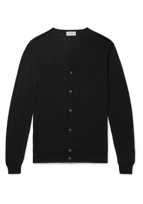 John Smedley - Wool and Cotton-Blend Cardigan - Men - Black