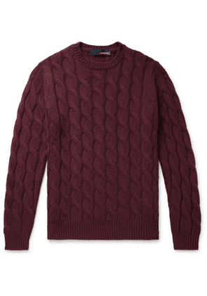 Lardini - Slim-Fit Cable-Knit Cashmere Sweater - Men - Burgundy