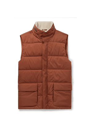 Loro Piana - Storm System Quilted Shell Hooded Gilet - Men - Brown